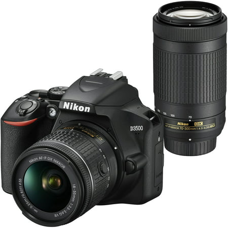 Nikon D3500 DX-Format DSLR Two Lens Kit with AF-P DX NIKKOR 18-55mm f/3.5-5.6G VR & AF-P DX NIKKOR 70-300mm f/4.5-6.3G ED, (Best Lenses For Nikon Dx Format)
