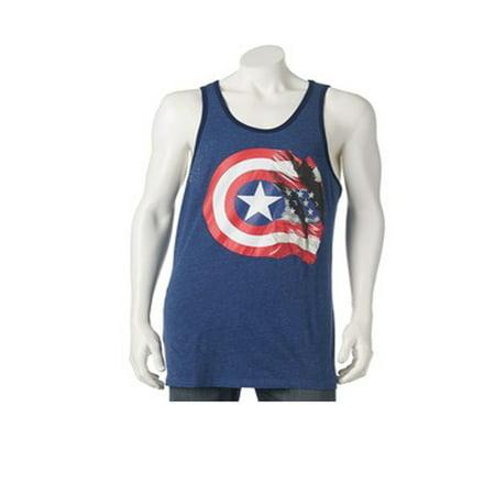 15a3273d63cf0 Marvel - Men s Marvel Captain America 75th Flag   Shield Tank Top -  Walmart.com