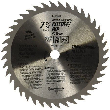 40 Tooth Finish (26430 5/8-Inch Arbor 7-1/4-Inch 40 Tooth Fine Finish Circular Saw Blade, Ultra-fine C-4 carbide provides longer life than standard blades By Vermont American)