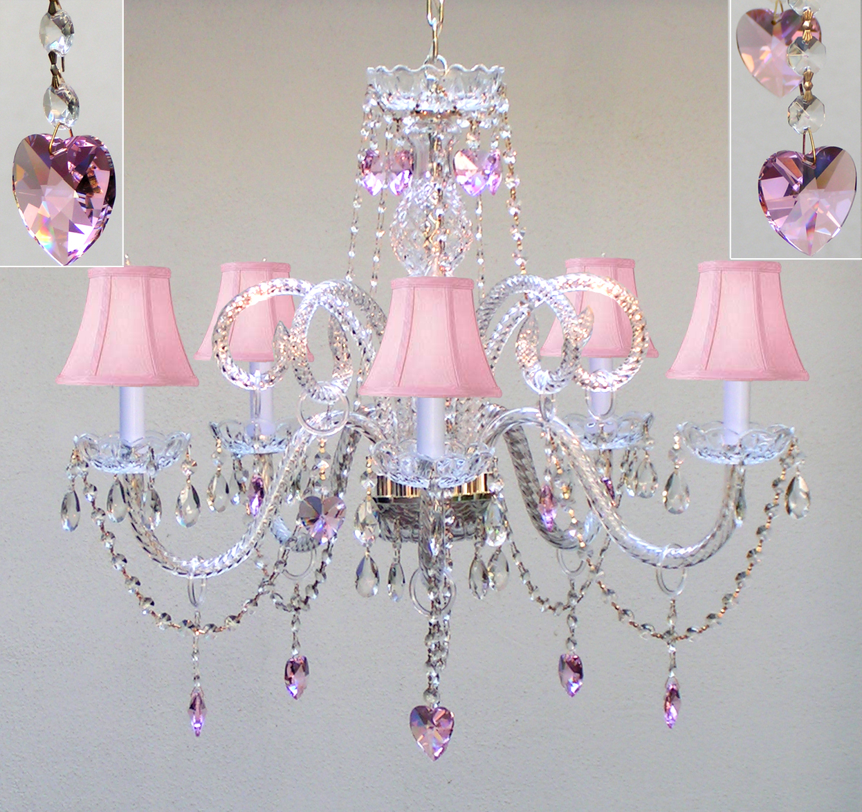 Crystal chandelier with pink shades and pink crystal hearts h25 x crystal chandelier with pink shades and pink crystal hearts h25 x w24 walmart aloadofball Gallery