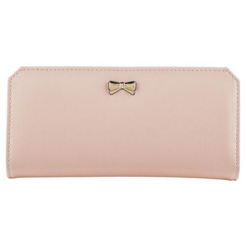 "Zodaca Light Pink Women Fashion PU Leather Wallet Button Bowknot Clutch Purse Lady Long Purse Handbag Bag with 16 Card Slots Holder (7.09"" x 3.54"")"