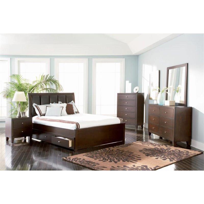 Coaster Furniture 5 Piece Upholstered Full Panel Bedroom ...