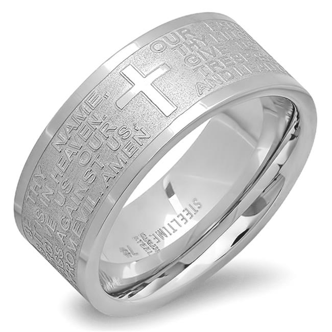 Stainless Steel Lords Prayer Band Ring In English, Size - 7