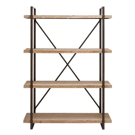 DecMode 47 X 67 Tall Industrial Black Metal Wood Bookshelf