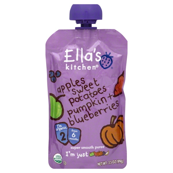 Ella's Kitchen 6+ Months Organic Baby Food, Apples Sweet Potatoes Pumpkin + Blueberries, 3.5 oz. Pouch