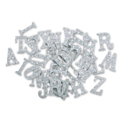 Momenta Chipboard Stickers - Silver Foil, Upper Case Letters, Set of - Boxed Chipboard Letters