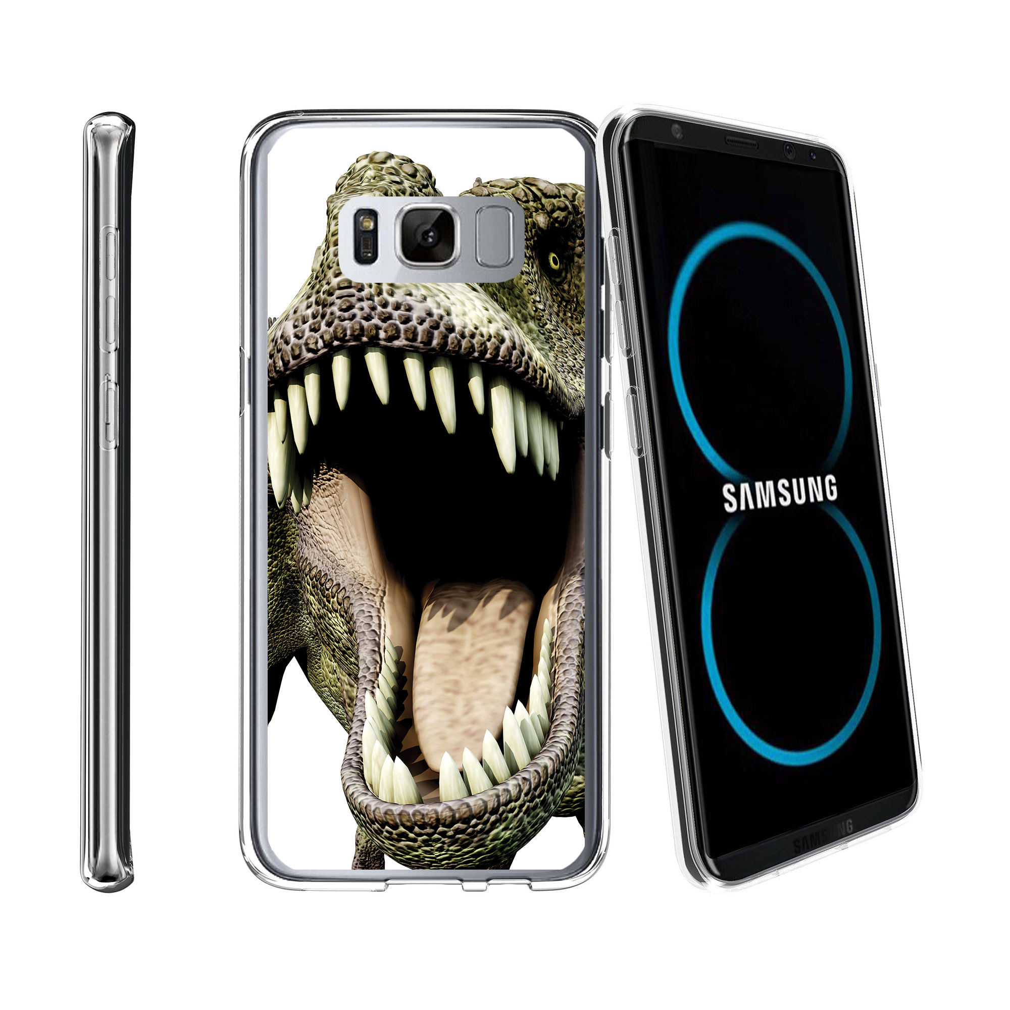 Case for Samsung Galaxy S8 Plus | Galaxy S8 Plus Transparent Silicone Case [ Flex Force ] Flexible Clear Case Dino Collection