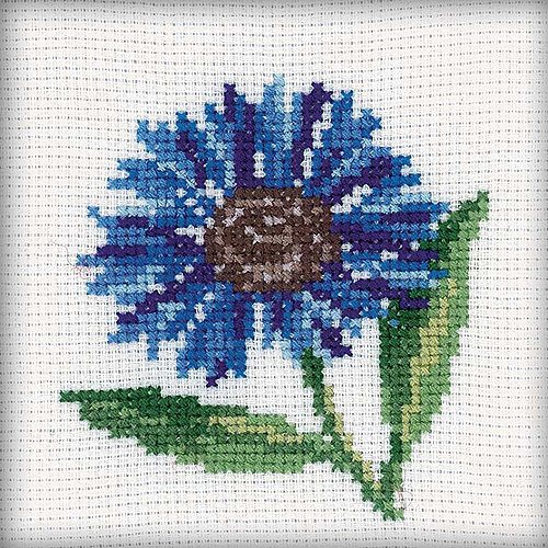 "Cornflower Counted Cross-Stitch Kit, 4"" x 4"", 14-Count"