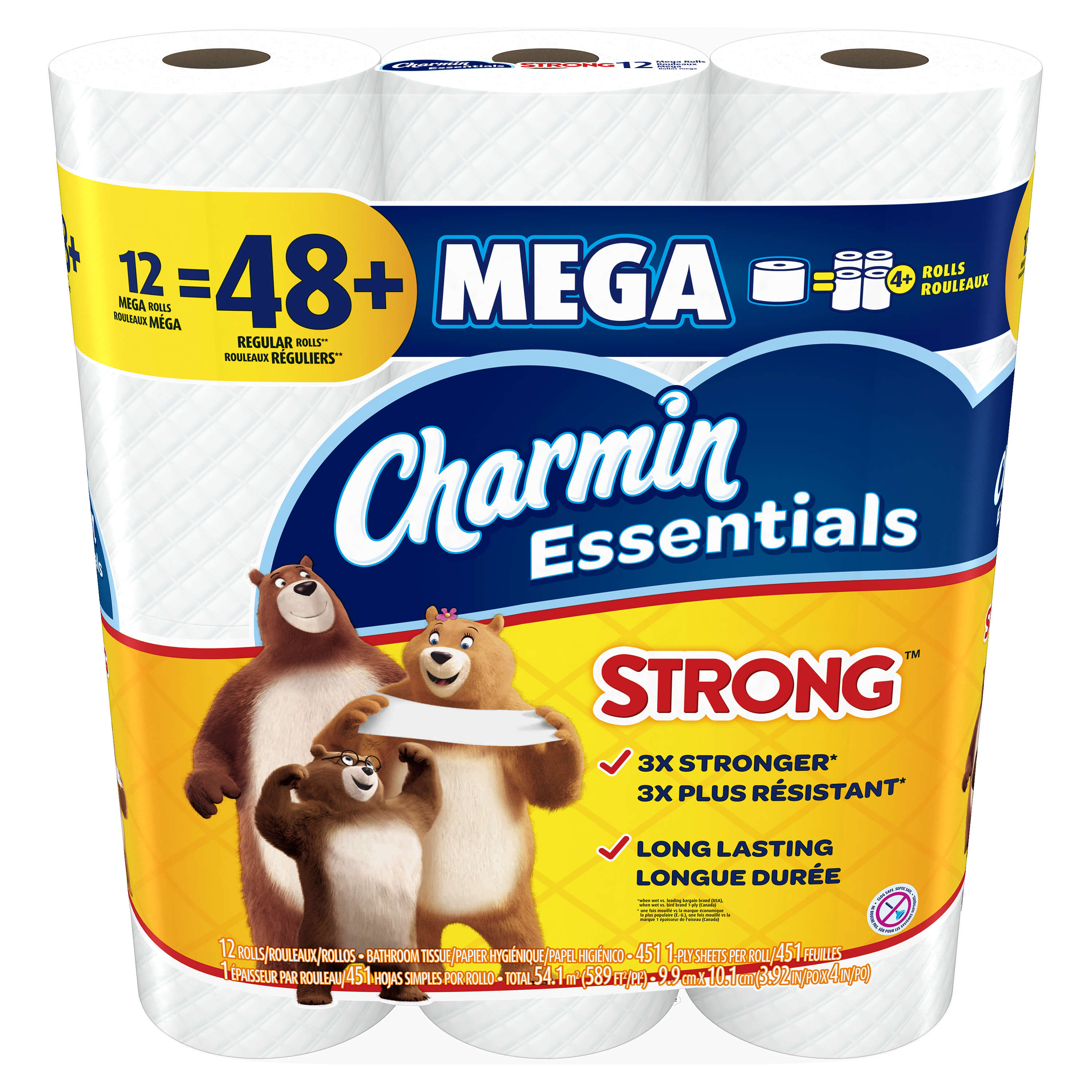 Charmin Essentials Strong Toilet Paper, 12 Mega Rolls