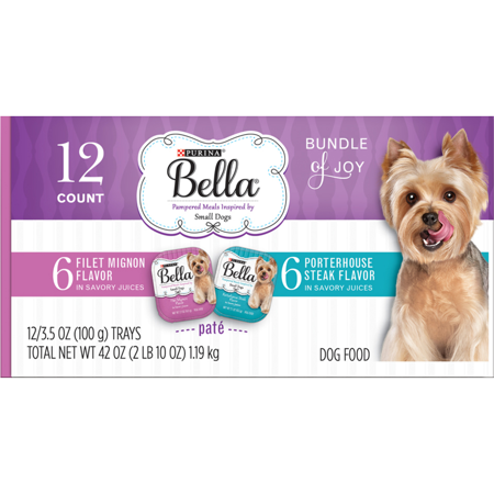 Purina Bella Bundle of Joy With Filet Mignon & Porterhouse Steak Flavors Adult Wet Dog Food Variety Pack - (12) 3.5 oz. Trays (Wet Dog Food Dispenser)