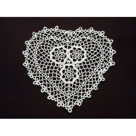 Handmade All-over Tatted Lace Doilies, 8-inch Heart Shaped, White Color, Set of 4