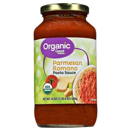(6 Pack) Great Value Organic Parmesan Romano Pasta Sauce, 24 oz
