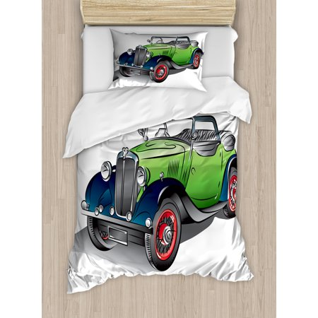 Cars Duvet Cover Set, Hand Drawn Convertible Vintage Green Car with Colorful Rims Retro Vehicle Design Print, Decorative Bedding Set with Pillow Shams, Green Gray, by Ambesonne