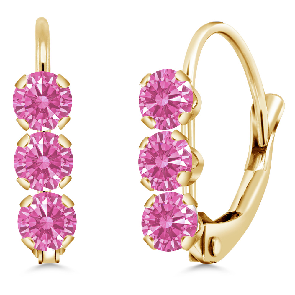 0.66 Ct Pink 14k Yellow Gold Earrings Made With Swarovski Zirconia by