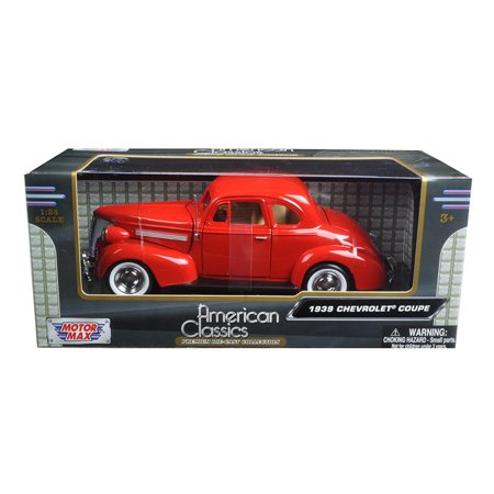 1939 Ford Coupe - 1939 Chevrolet Coupe Red 1/24 Diecast Model Car by Motormax