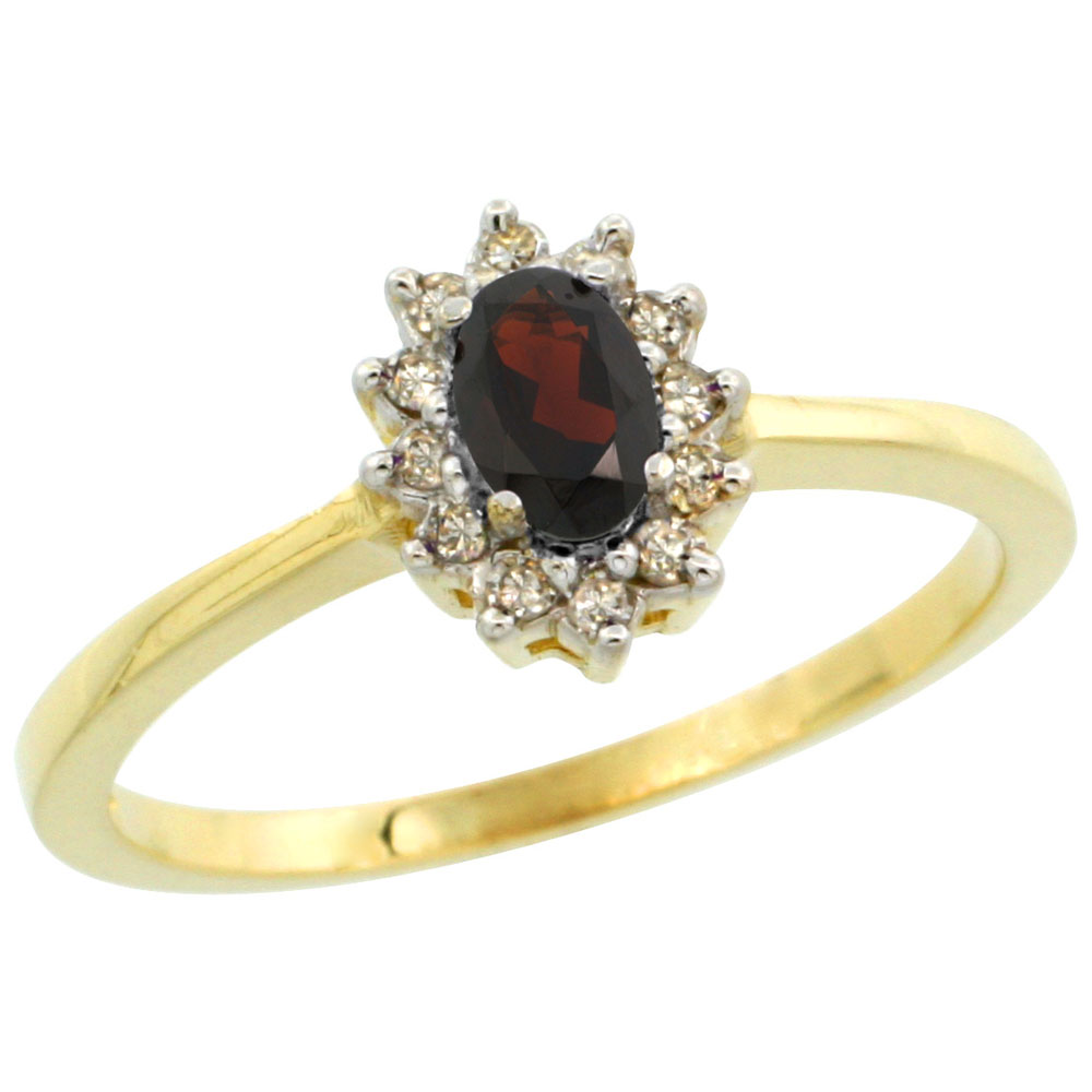 14K Yellow Gold Natural Garnet Ring Oval 5x3mm Diamond Halo, sizes 5-10 by WorldJewels