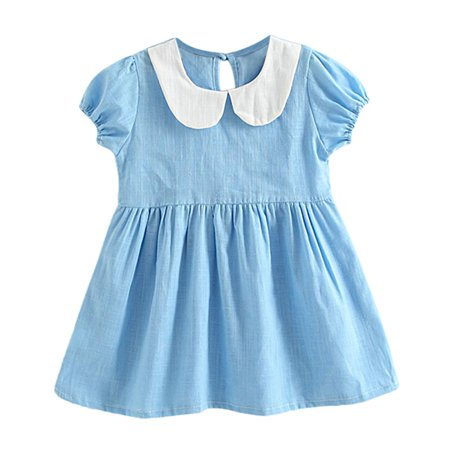 Kids Baby Girl Summer Puff Sleeve Dress Swing Casual Party Sundress -