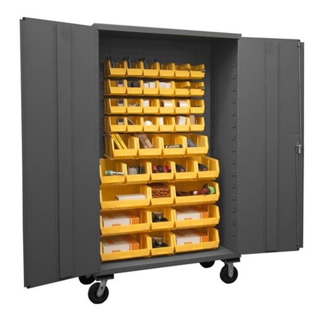 48 in. 16 Gauge Flush Door Style Lockable Mobile Storage Cabinet with 42 Yellow Hook on Bins, Gray