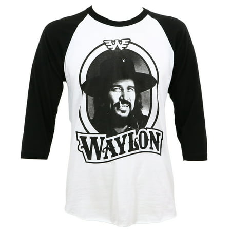 Waylon Jennings Men's '79 Tour Raglan T-Shirt White Black