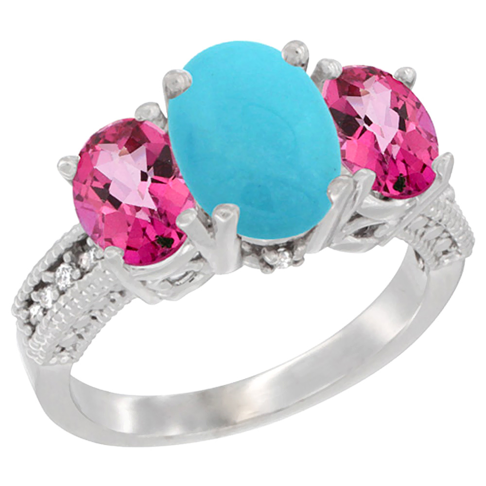 14K White Gold Diamond Natural Turquoise Ring 3-Stone Oval 8x6mm with Pink Topaz, sizes5-10 by WorldJewels