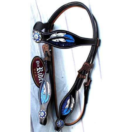 Horse Show Rodeo Tack Bridle Western Leather Headstall Blue 8441HB