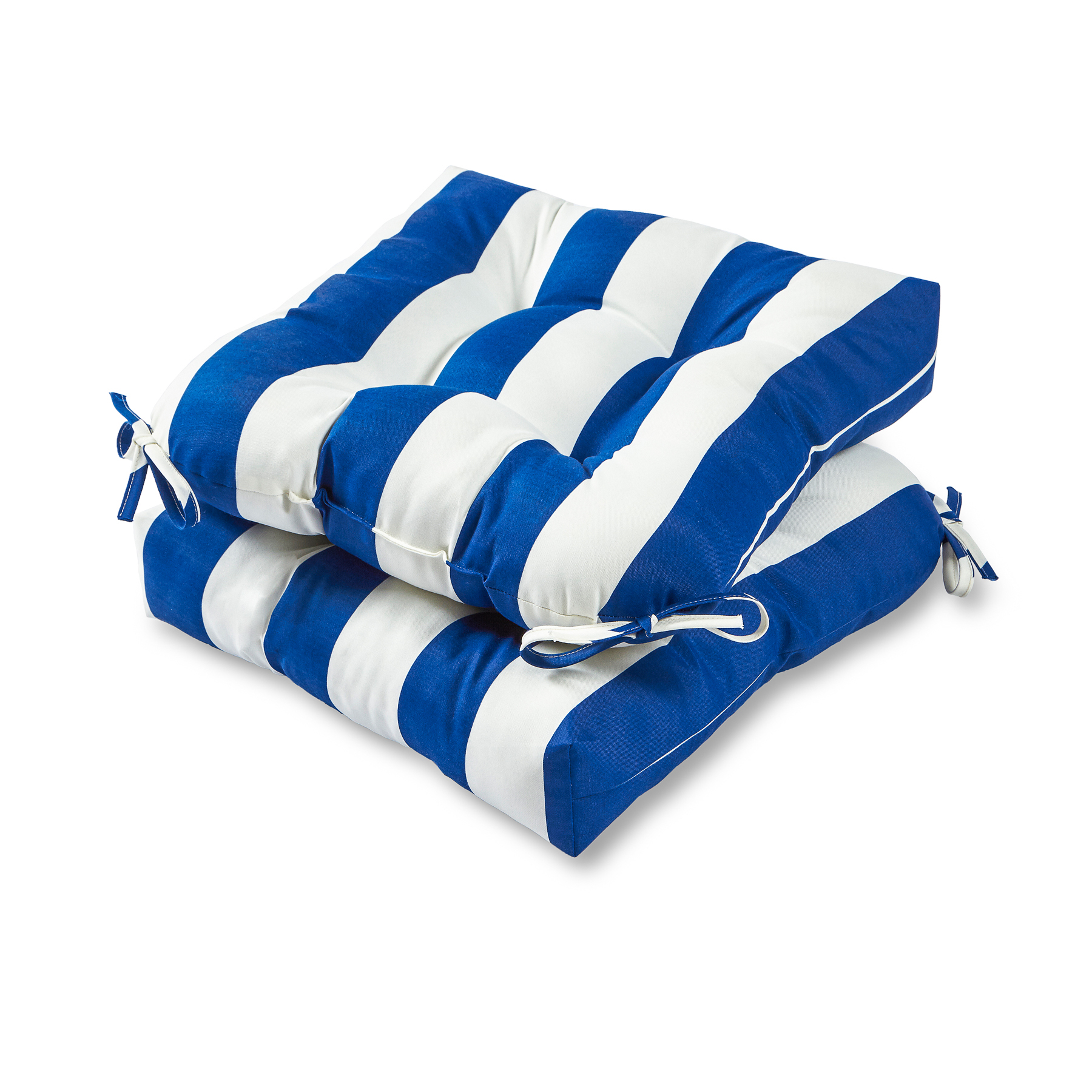 Cabana Stripe 20 in. Plush Outdoor Chair Cushion, Set of 2