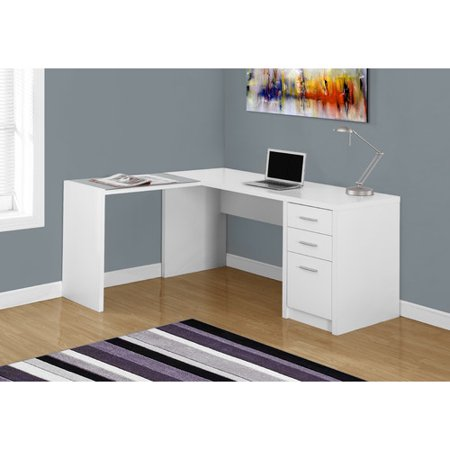 Monarch Glass (MONARCH - COMPUTER DESK - WHITE CORNER WITH TEMPERED)