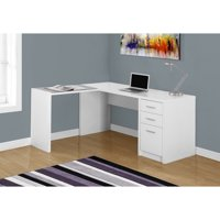 MONARCH - COMPUTER DESK - WHITE CORNER WITH TEMPERED GLASS