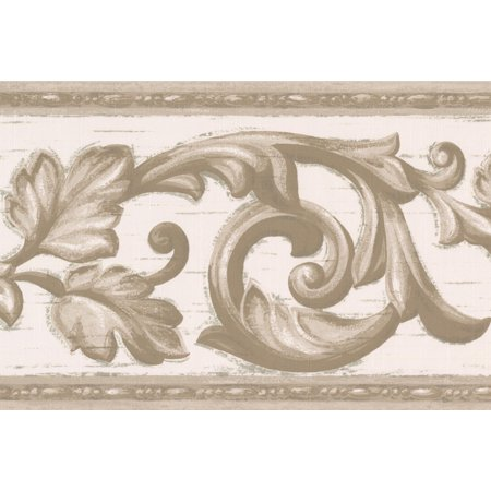 Grey Vine White Damask Wallpaper Border Vintage Design, Roll 15' x - Halloween Wallpaper Ios 7