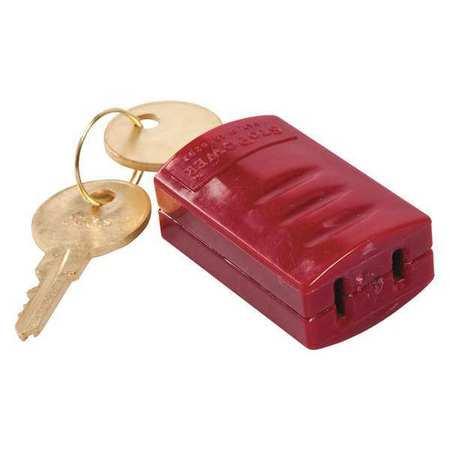 Brady 65673 Red Power Cord Lockout (Brass Locknut)
