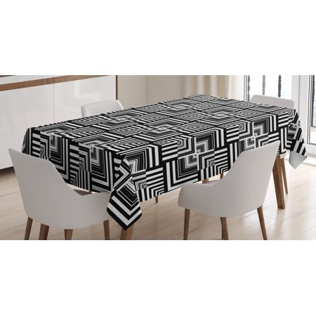 Black and White Tablecloth, Geometric Op Art Pattern Unusual Checked Optical Illusion Effect Modern, Rectangular Table Cover for Dining Room Kitchen, 60 X 84 Inches, Black White, by Ambesonne - Black And White Tablecloth