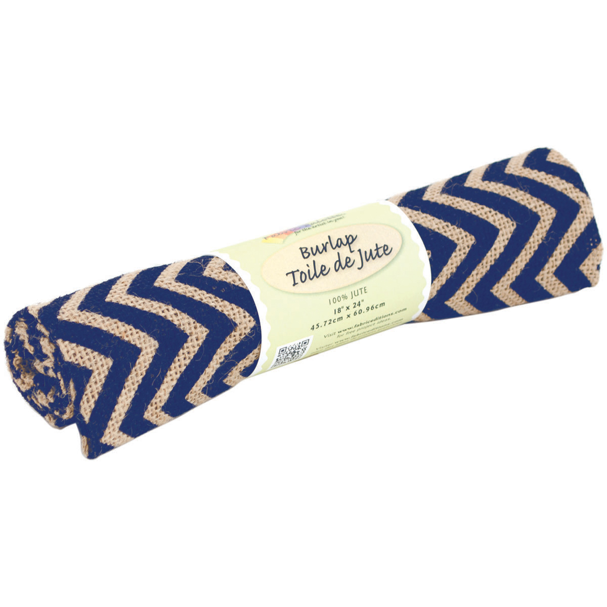 Fabric Editions Palette Printed Burlap Fabric, 18 by 24-Inch, Zigzag, Navy Multi-Colored