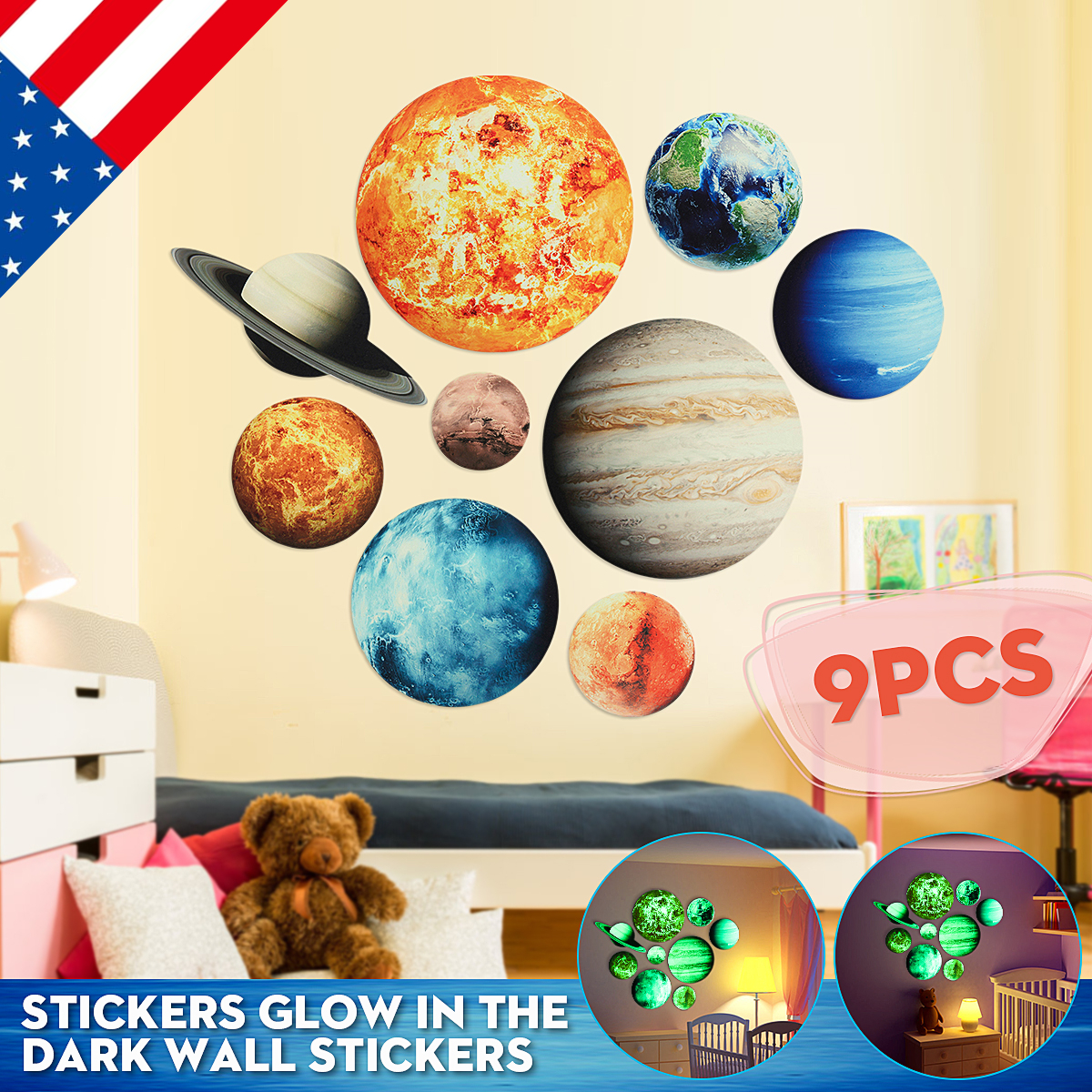 SOLAR SYSTEM Wall Stickers Glow In The Dark 9#Planets Mars Outer Space Decal Kids Room Decor Educational Background