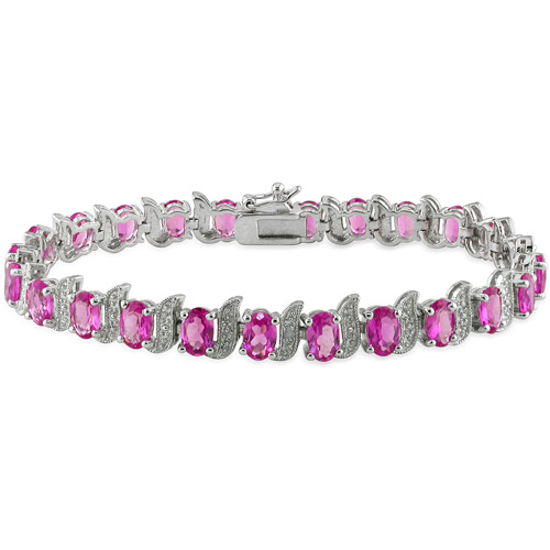 Created Pink Sapphire Sterling Silver Bracelet with Diamond Accents, 7""