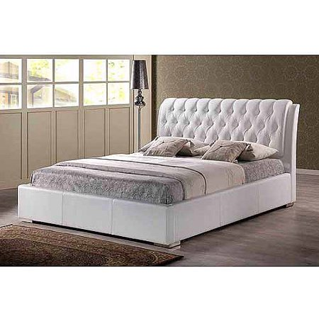 Baxton Studio Bianca Queen Modern Bed with Tufted Headboard, White - Baxton Studio Bianca Queen Modern Bed With Tufted Headboard, White