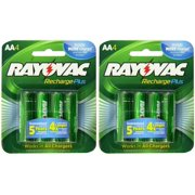 8 Rayovac AA Recharge PLUS High-Capacity Rechargeable 2400 mAh NiMH Pre-Charged Batteries, (2 x 4 packs) + Holders
