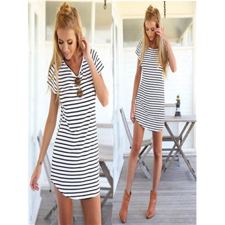 New Women Crew Neck Short Sleeve Striped Loose T-Shirt Mini Dress WTXL (Neckline Short Mini)
