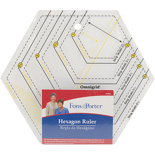 "Fons & Porter Hexagon Ruler, 2"" to 6"" & 1"" to 3"""