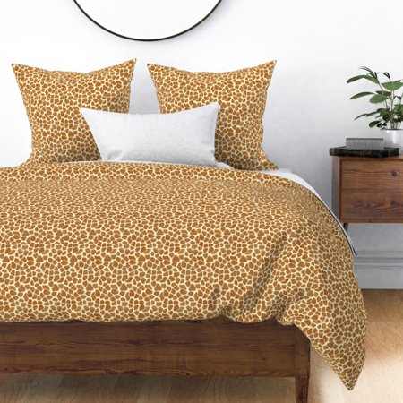 Brown Animal Giraffe Pattern Hide Look African Sateen Duvet Cover by Roostery