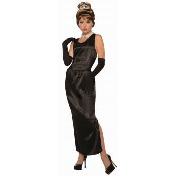 Womens Breakfast At Tiffany'S Gown W/Gloves Costume Halloween Costume (Audrey Hepburn Breakfast At Tiffany's Costume)