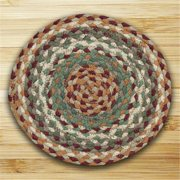 Earth Rugs 46-413 Round Miniature Swatch, Buttermilk and Cranberry