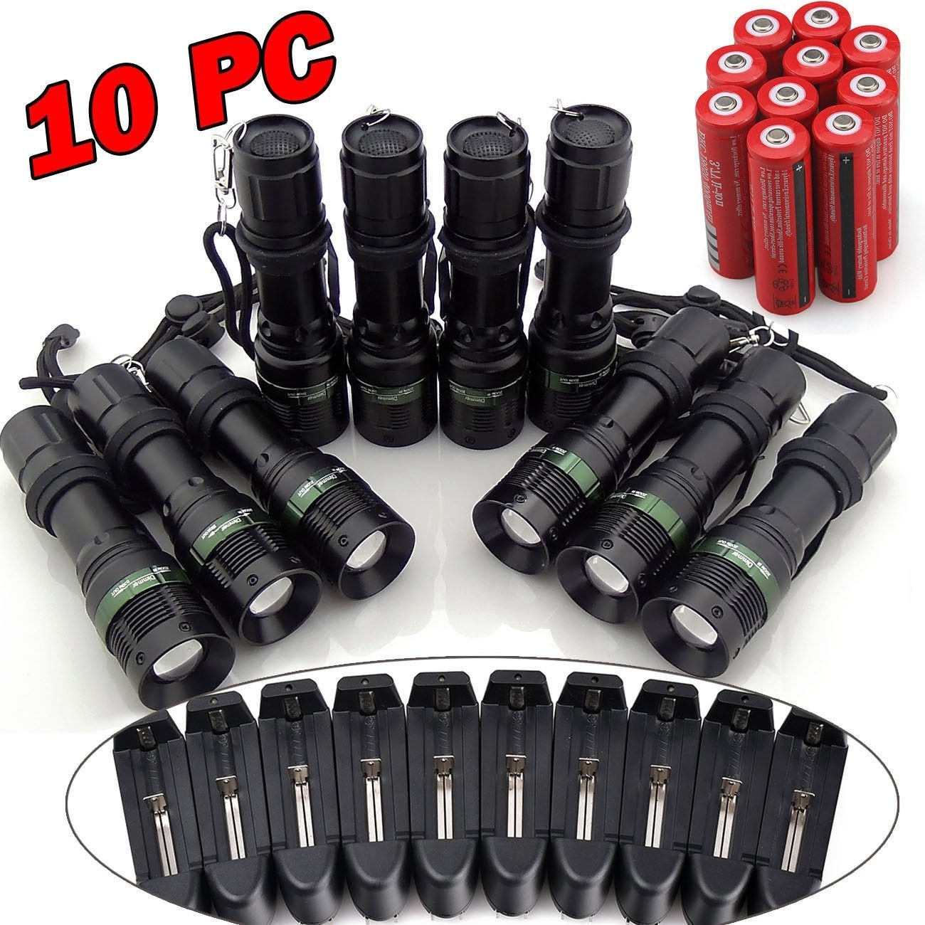 New MTN-G 10PCS 10000Lumen Zoom XM-L T6 LED 18650 Flashli...