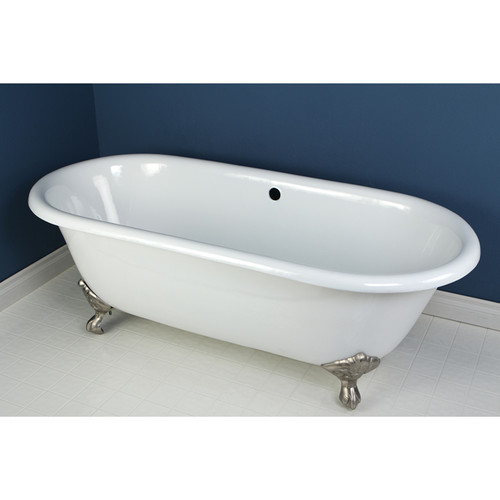 66 in. Double Ended Clawfoot Bathtub with Satin Nickel Feet