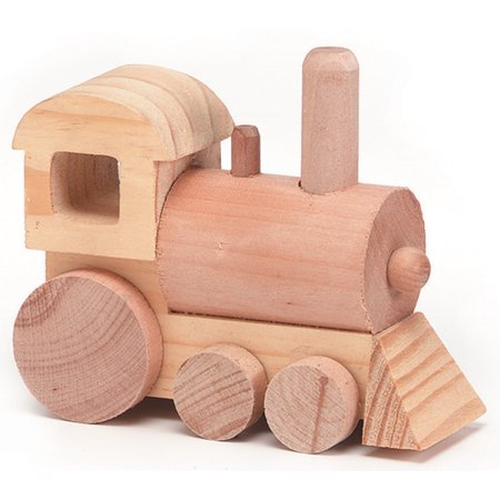 Wood Toy Train Engine: Unfinished, 4.5 x 4 inches