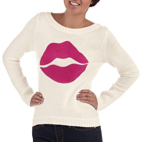 Juniors Long Sleeve Key Hole Back Hi Lo Sweater with Flocked Lips