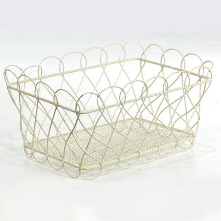 Stella Mini Rectangular Basket with Scalloped Edge- Cream 6in (Mini Baskets)