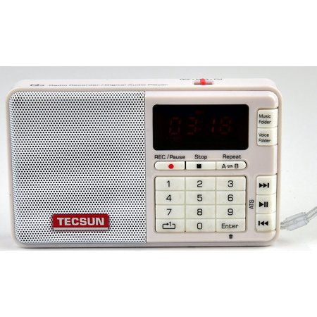 Tecsun Q3 High Sound Quality FM Radio with MP3 Player and Recorder - White ()