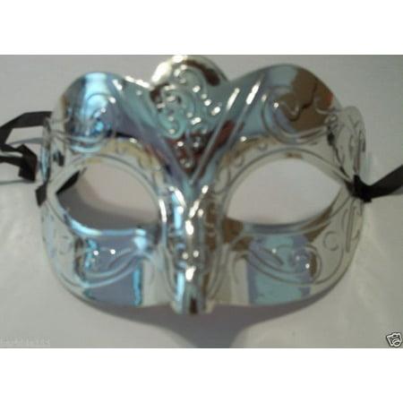 Scallop Metallic Silver Venetian Mardi Gras Masquerade Party Value Mask](Metallic Mask)