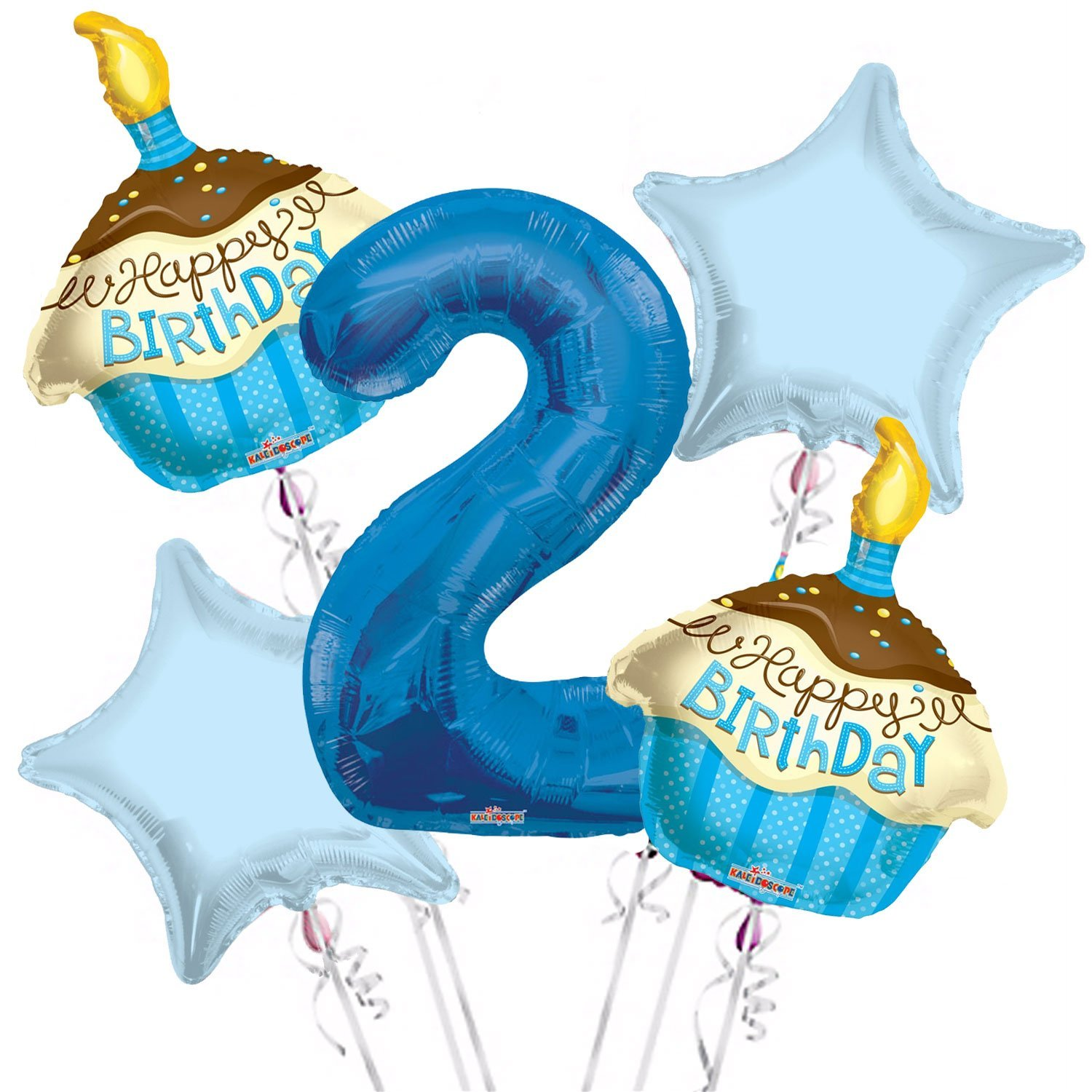 Cupcakes Balloon Bouquet 2nd Birthday 5 pcs - Party Supplies, 1 Giant Number 2 Balloon, 34in By Viva Party