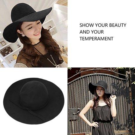 (Vintage Women Lady Wool Felt Floppy Wide Brim Fedora Bowler Cloche Hat Cap)